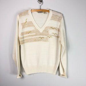 Vintage Gold Metallic Sweater V Neck Seagull